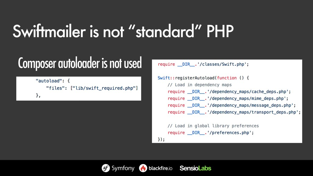 "Swiftmailer is not ""standard"" PHP Composer auto..."