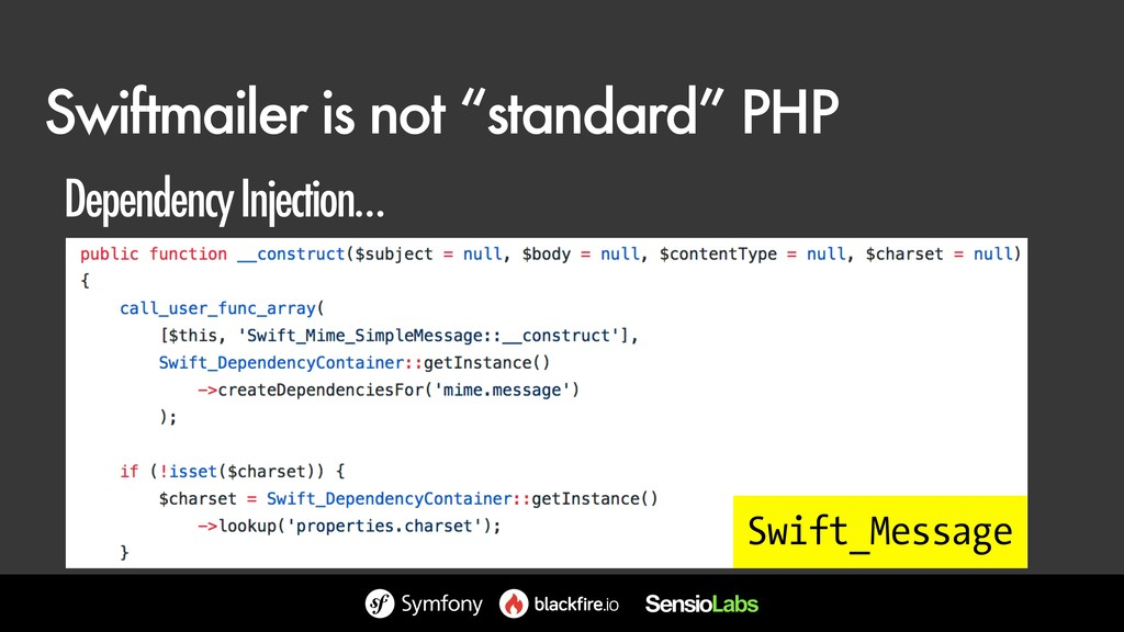 "Swiftmailer is not ""standard"" PHP Swift_Message..."