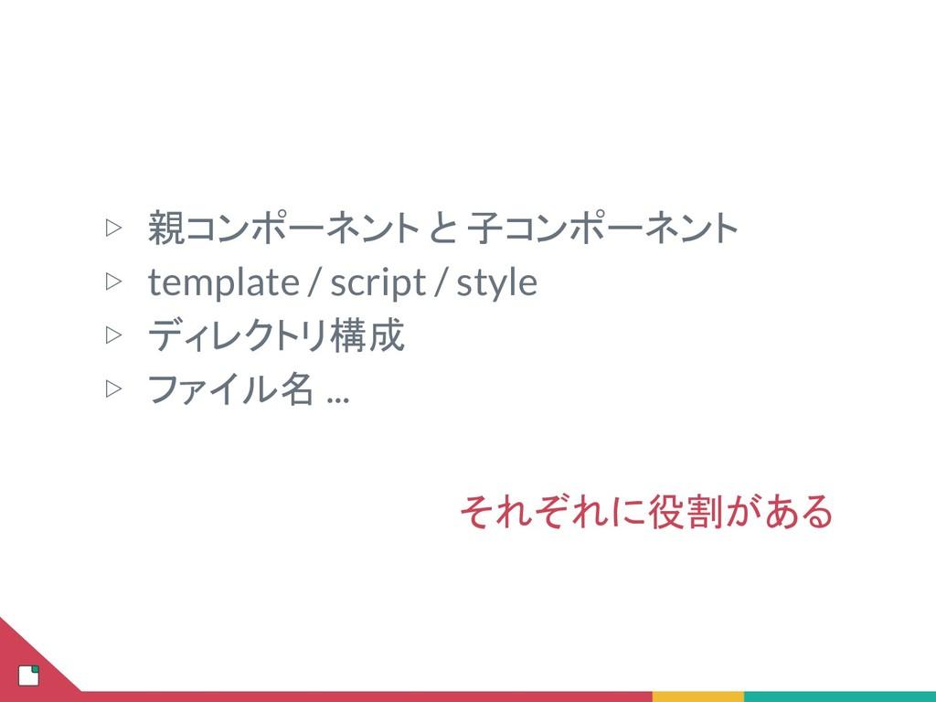 ▷ 親コンポーネント と 子コンポーネント ▷ template / script / sty...