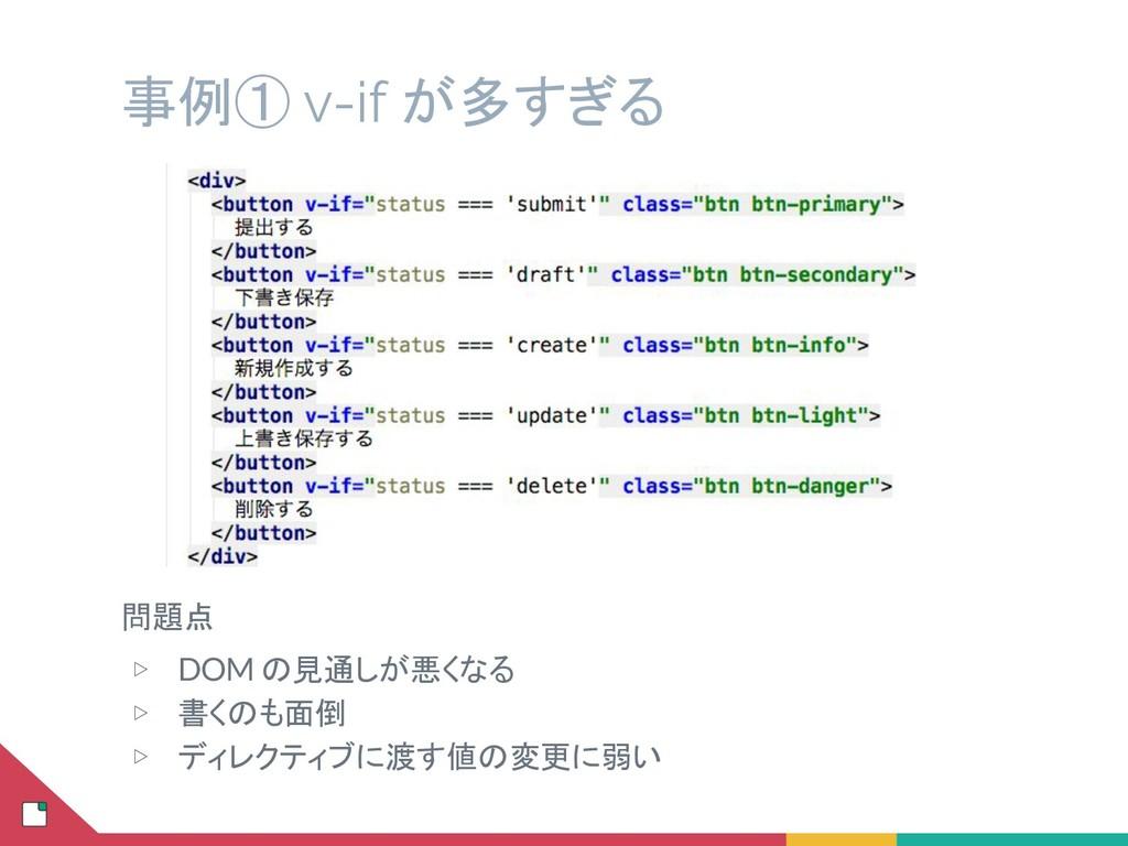 事例① v-if が多すぎる 問題点 ▷ DOM の見通しが悪くなる ▷ 書くのも面倒 ▷ デ...