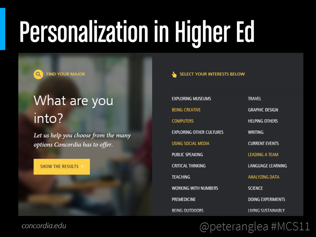 @peteranglea #MCS11 Personalization in Higher E...