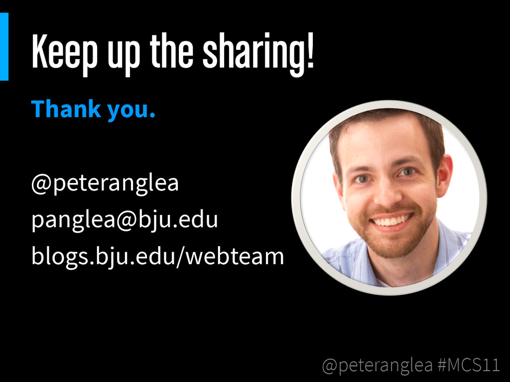 @peteranglea #MCS11 Keep up the sharing! Thank ...