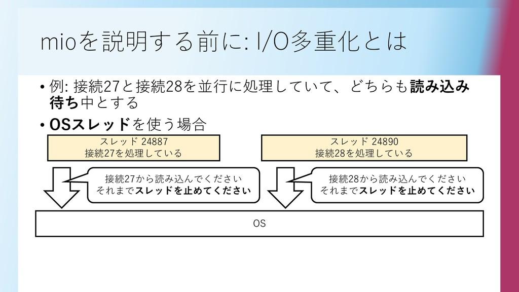 mioを説明する前に: I/O多重化とは • 例: 接続27と接続28を並行に処理していて、ど...