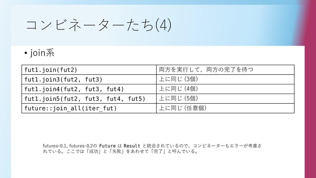 コンビネーターたち(4) fut1.join(fut2) 両方を実行して、両方の完了を待つ f...