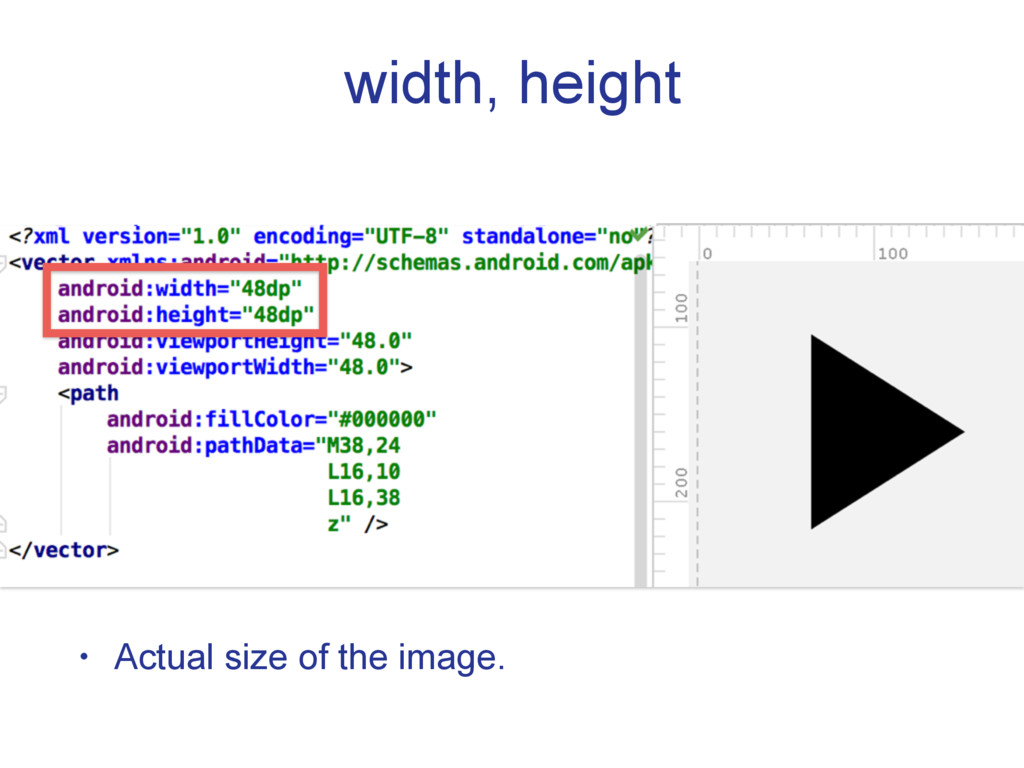 width, height • Actual size of the image.