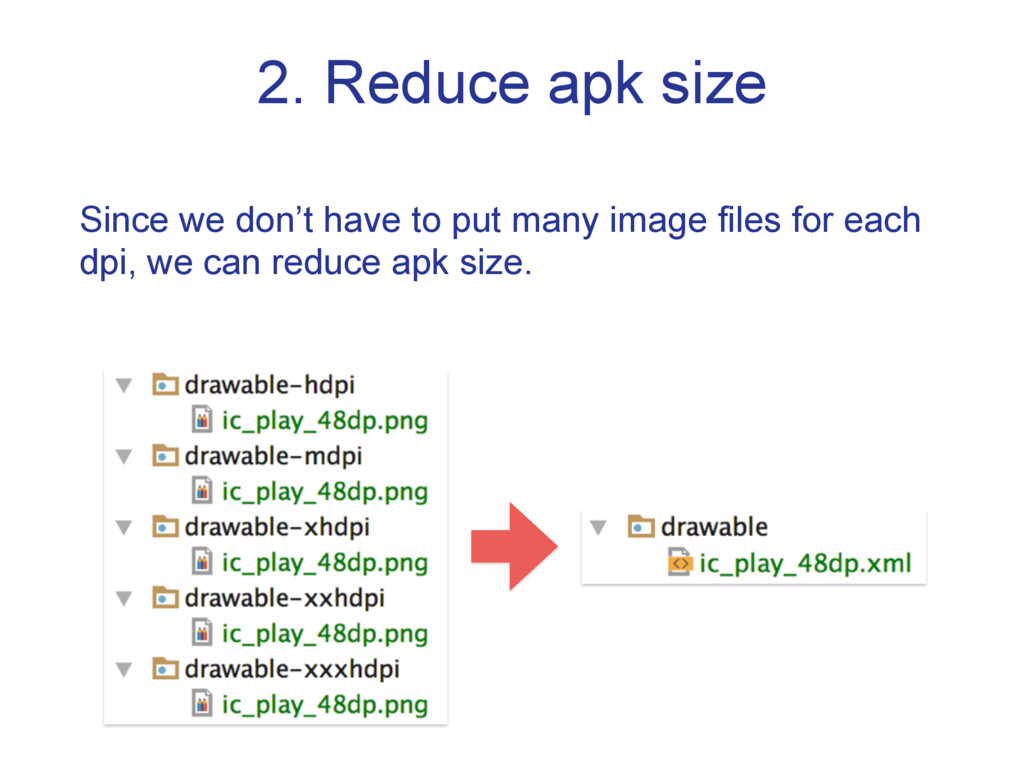 2. Reduce apk size Since we don't have to put m...