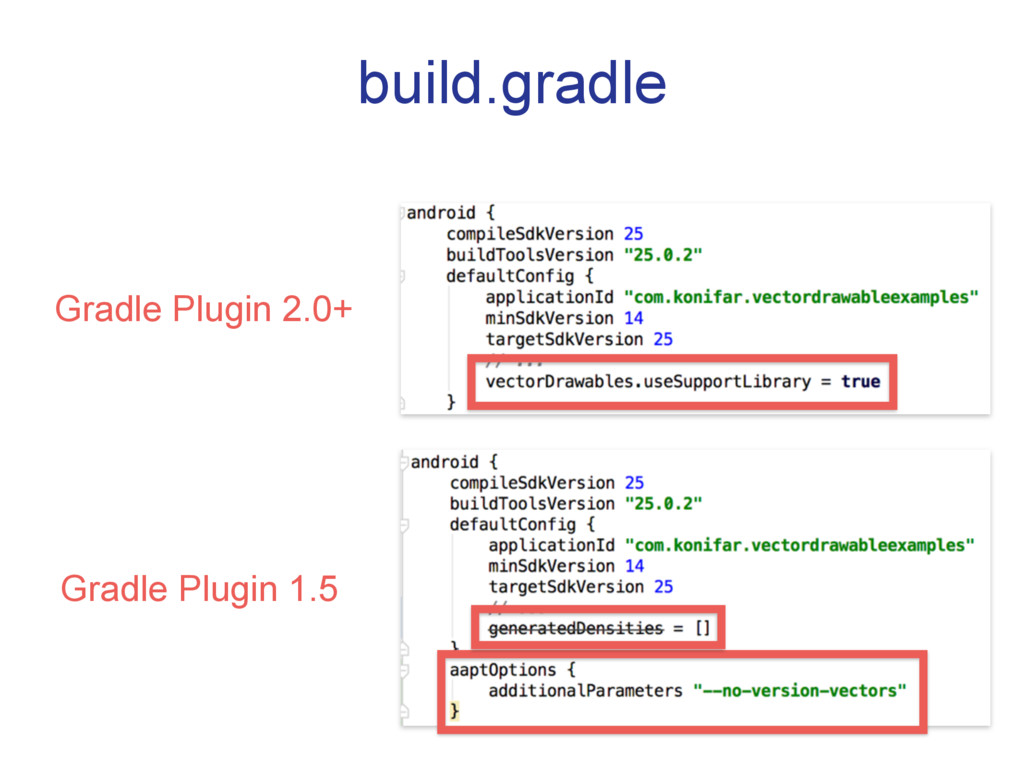 build.gradle Gradle Plugin 2.0+ Gradle Plugin 1...