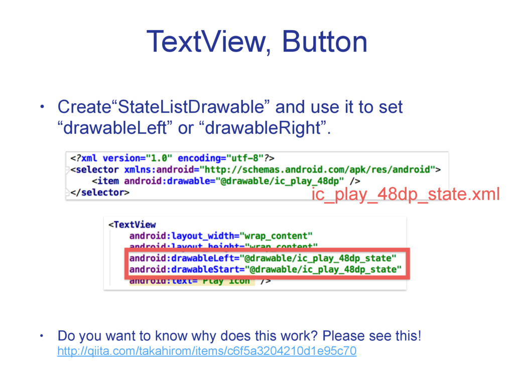 "TextView, Button • Create""StateListDrawable"" an..."