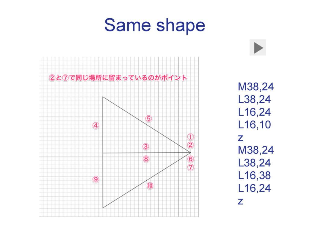 Same shape M38,24  L38,24  L16,24  L16,10 z...