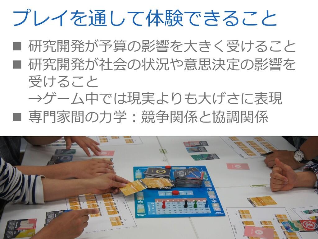 プレイを通して体験できること  研究開発が予算の影響を⼤きく受けること  研究開発が社会の...