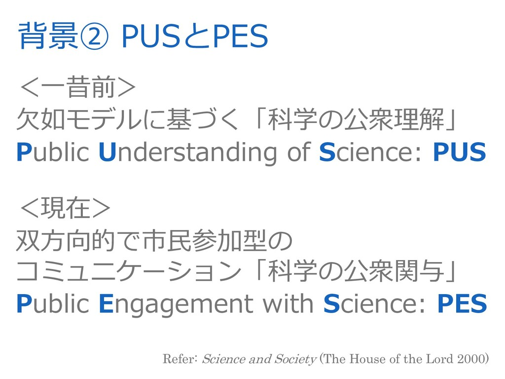 背景② PUSとPES <⼀昔前> ⽋如モデルに基づく「科学の公衆理解」 Public Und...
