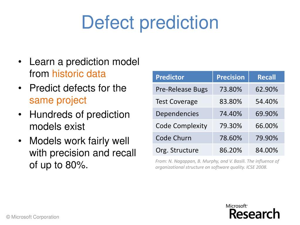 © Microsoft Corporation Defect prediction • Lea...