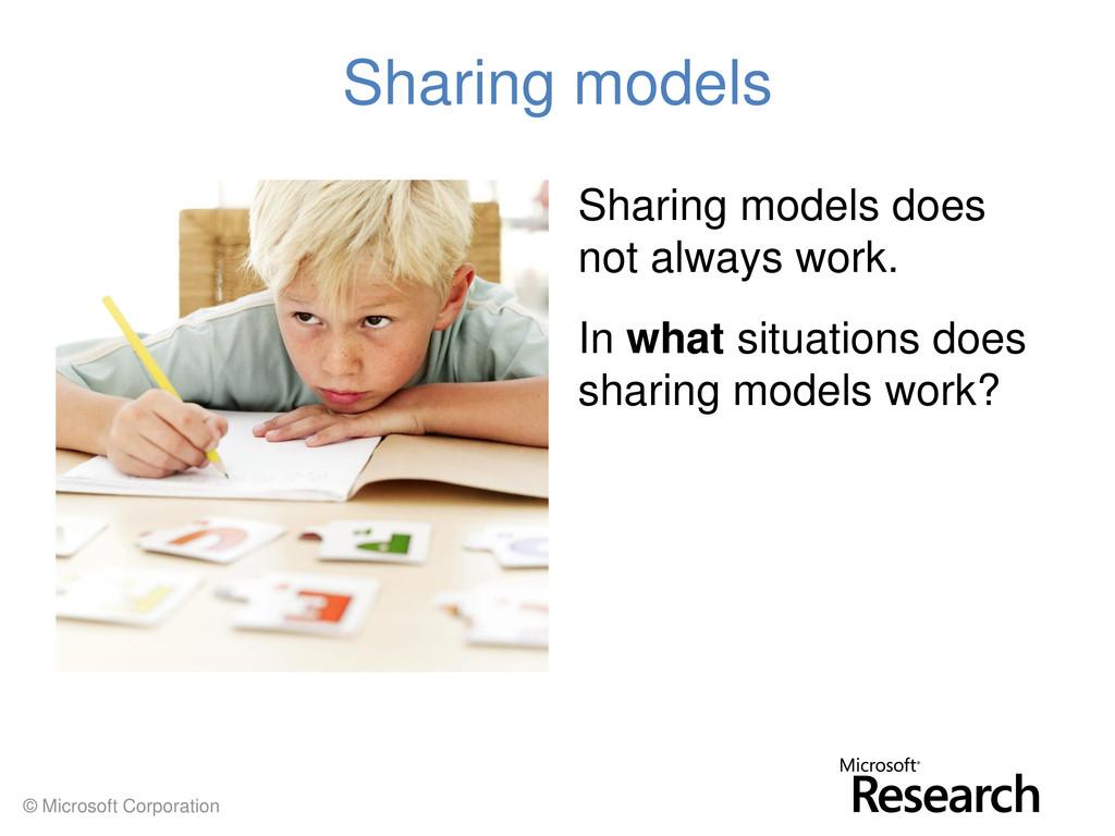 © Microsoft Corporation Sharing models Sharing ...
