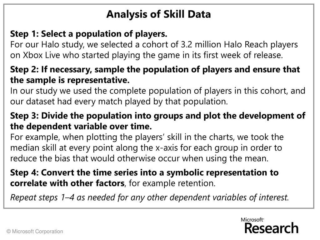 © Microsoft Corporation Analysis of Skill Data ...