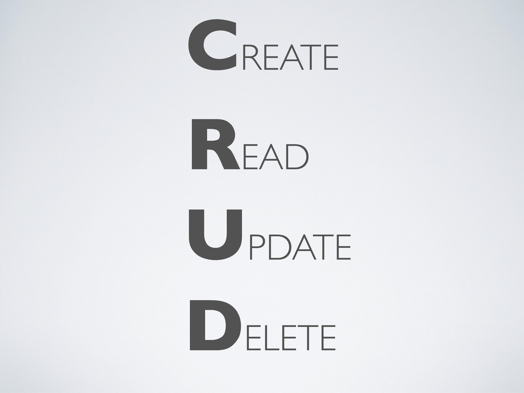CREATE READ UPDATE DELETE