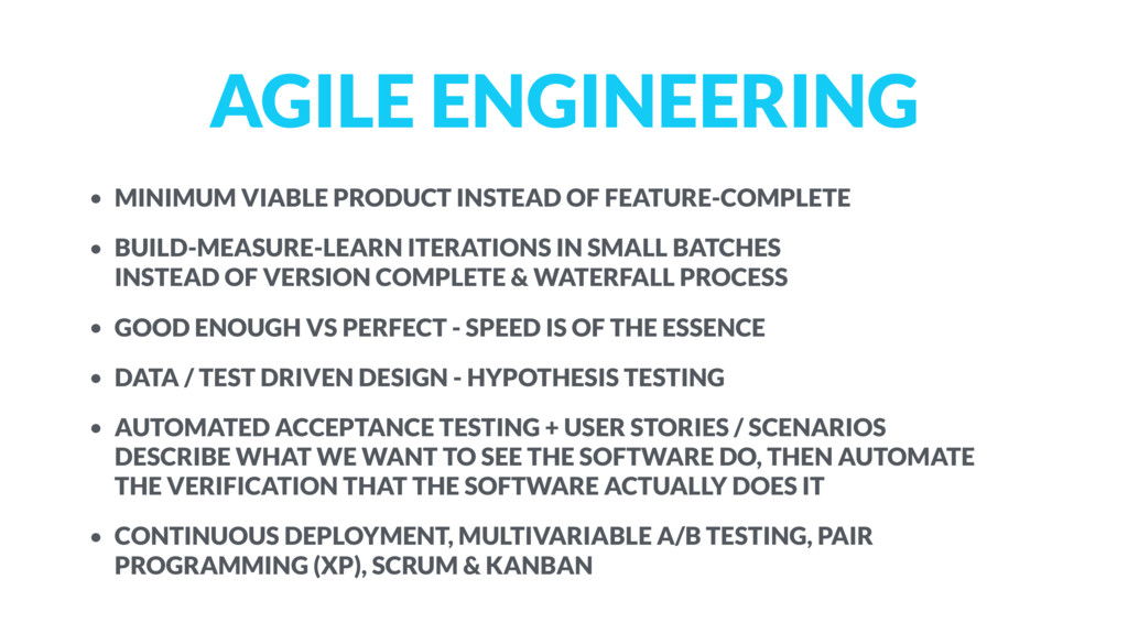 AGILE ENGINEERING • MINIMUM VIABLE PRODUCT INST...