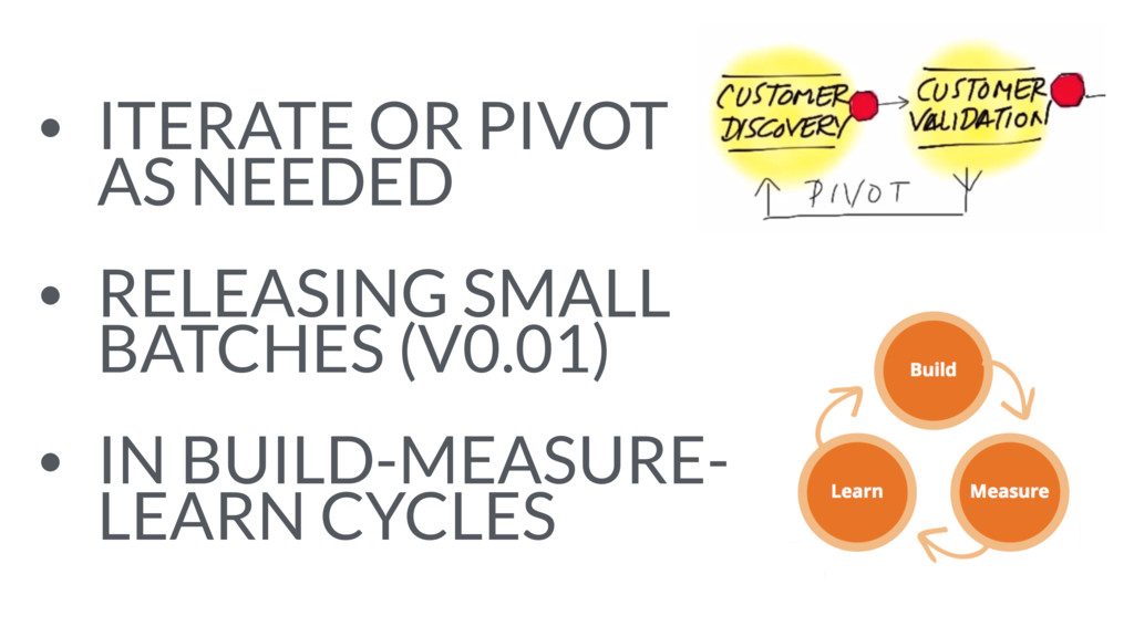 • ITERATE OR PIVOT AS NEEDED • RELEASING SMALL...