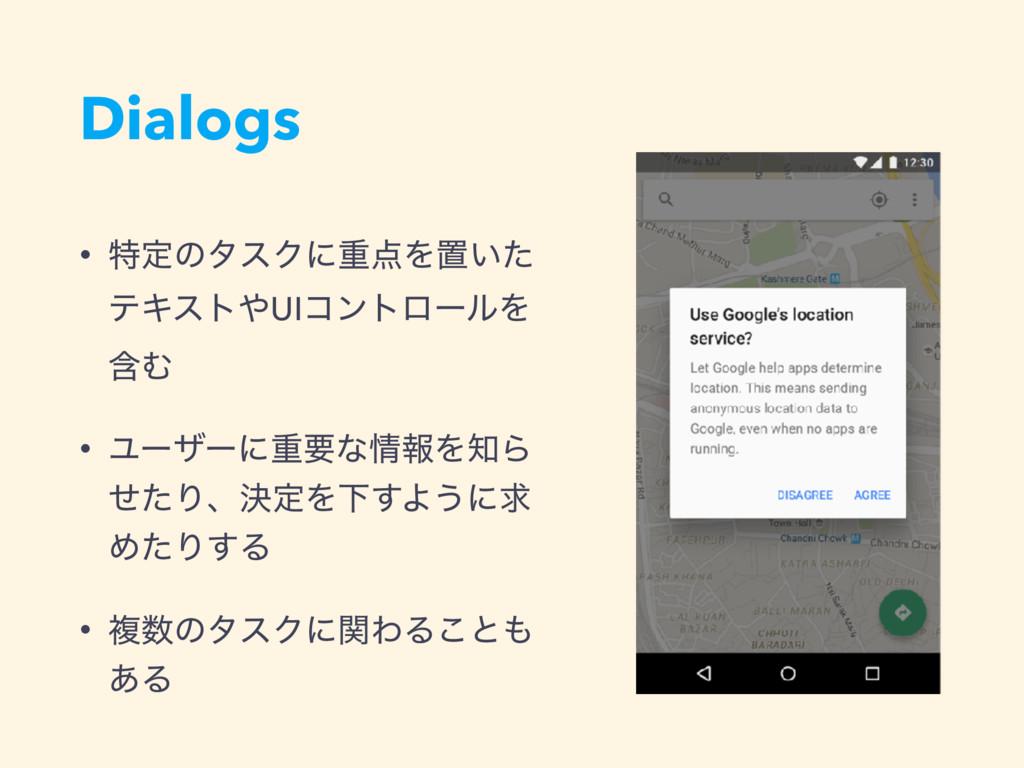 Dialogs • ಛఆͷλεΫʹॏΛஔ͍ͨ ςΩετUIίϯτϩʔϧΛ ؚΉ • Ϣʔβ...