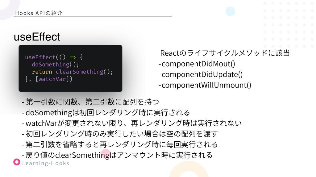 Learning-Hooks Hooks APIの紹介 Reactのライフサイクルメソッドに該...