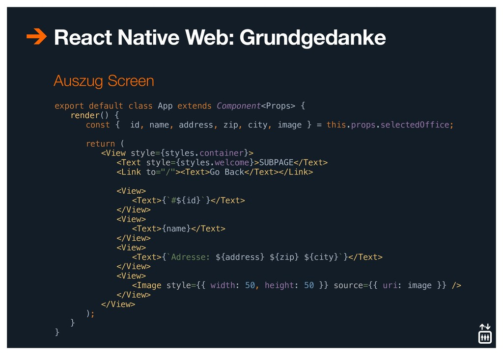 React Native Web: Grundgedanke export default c...