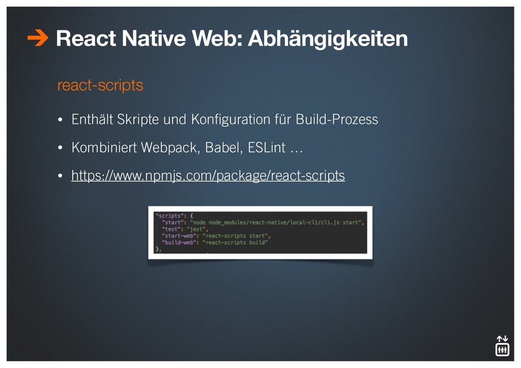 react-scripts • Enthält Skripte und Konfiguratio...