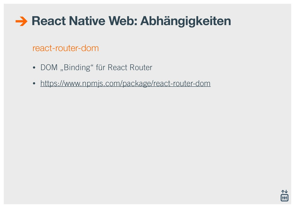 "react-router-dom • DOM ""Binding"" für React Rout..."