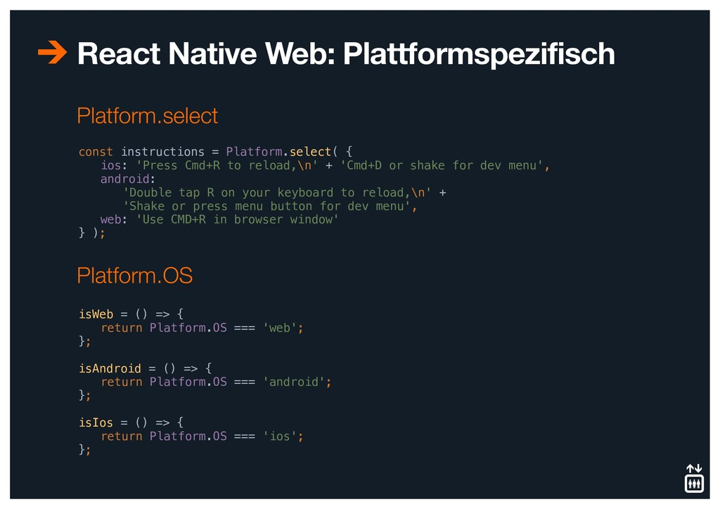 React Native Web: Plattformspezifisch const ins...