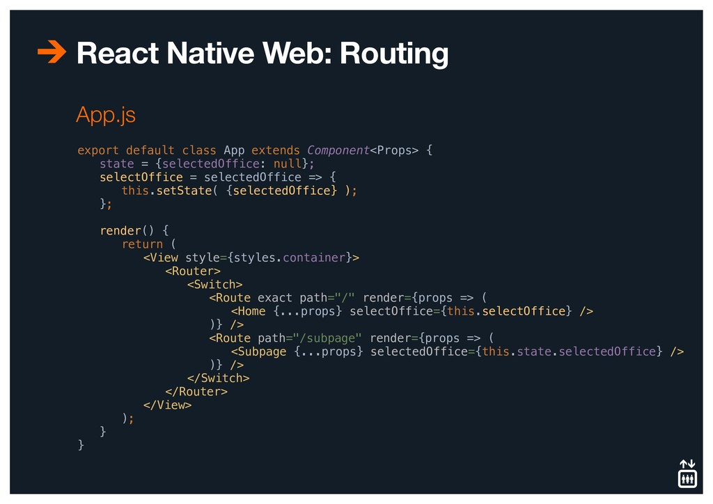 React Native Web: Routing export default class ...