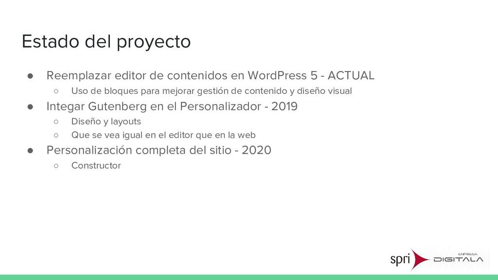 Estado del proyecto ● Reemplazar editor de cont...
