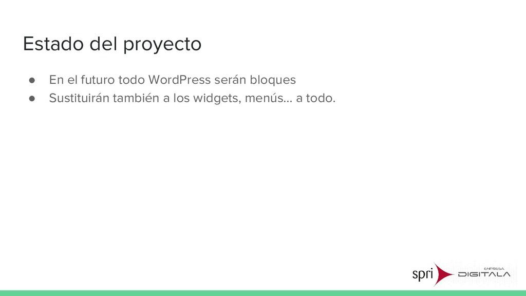Estado del proyecto ● En el futuro todo WordPre...