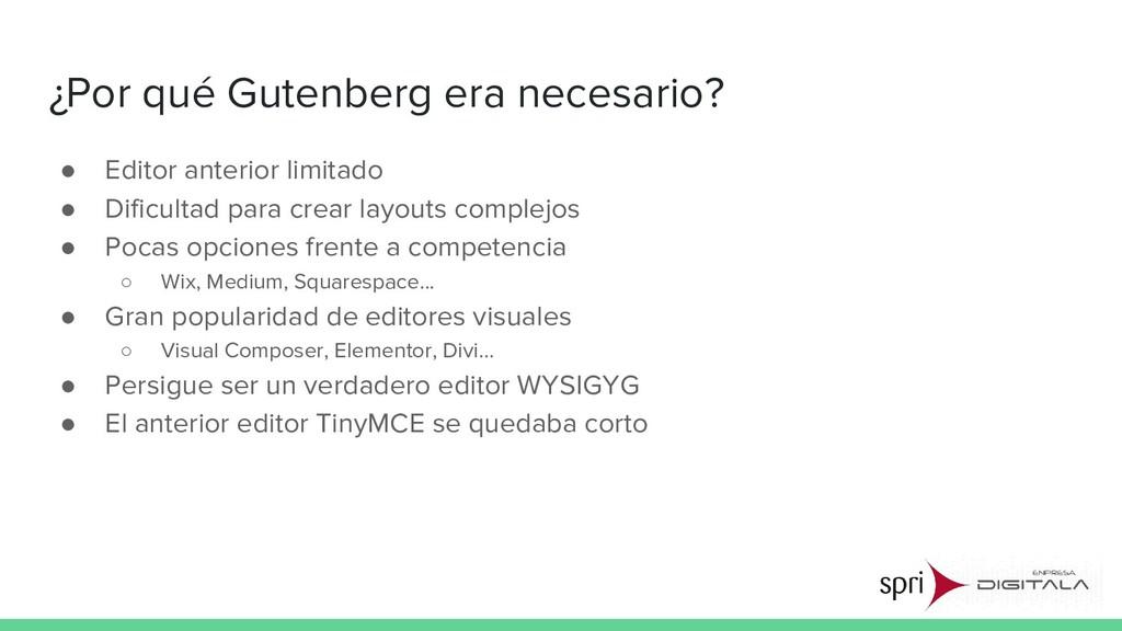 ¿Por qué Gutenberg era necesario? ● Editor ante...