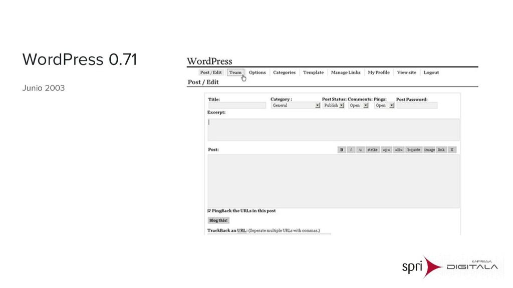 WordPress 0.71 Junio 2003