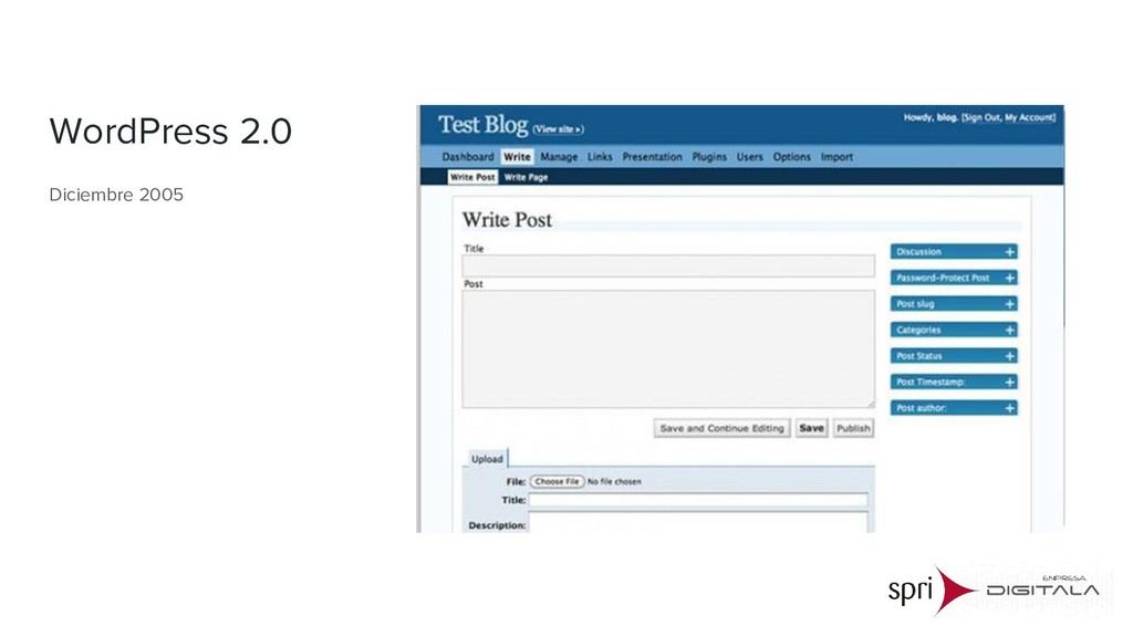 WordPress 2.0 Diciembre 2005