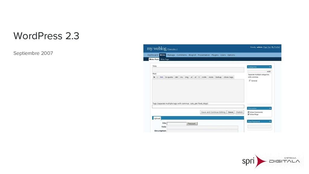 WordPress 2.3 Septiembre 2007