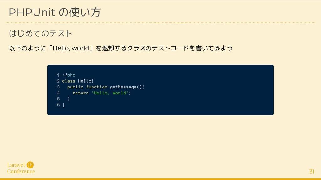 Laravel Conference JP 31 PHPUnit の使い方 はじめてのテスト ...