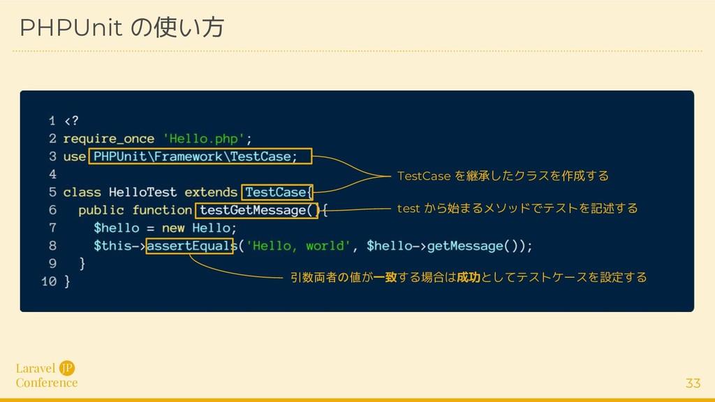Laravel Conference JP 33 PHPUnit の使い方 TestCase ...