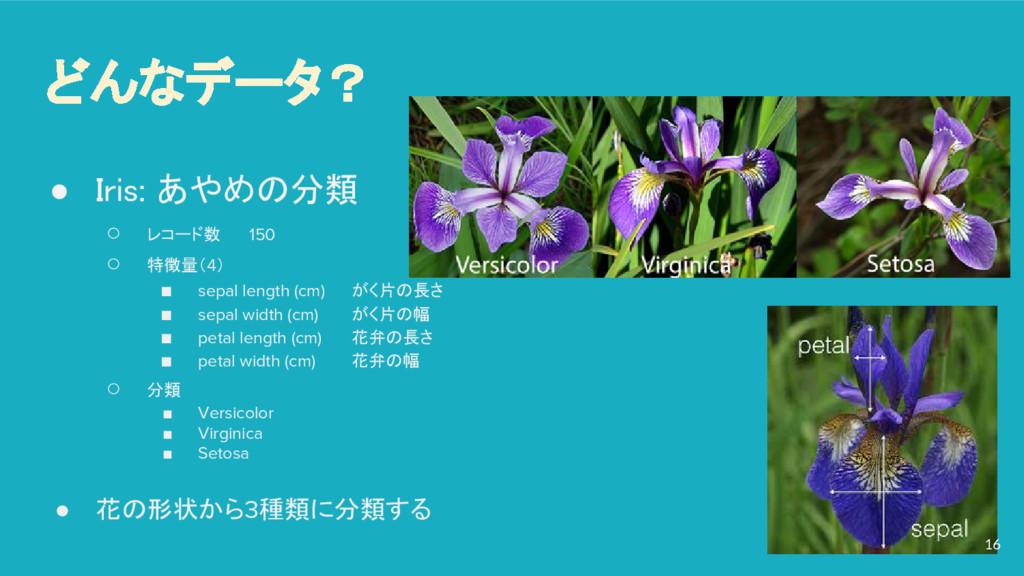 どんなデータ? ● Iris: あやめの分類 ○ レコード数 150 ○ 特徴量(4) ■ s...