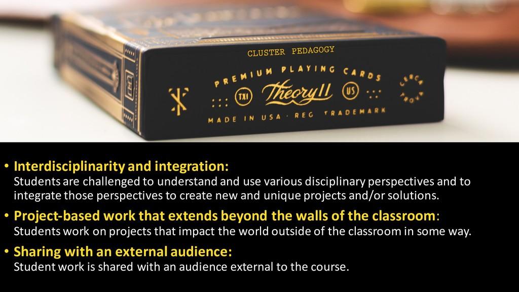 • Interdisciplinarity and integration: Students...