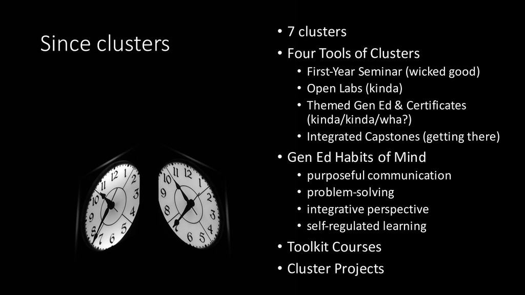 • 7 clusters • Four Tools of Clusters • First-Y...