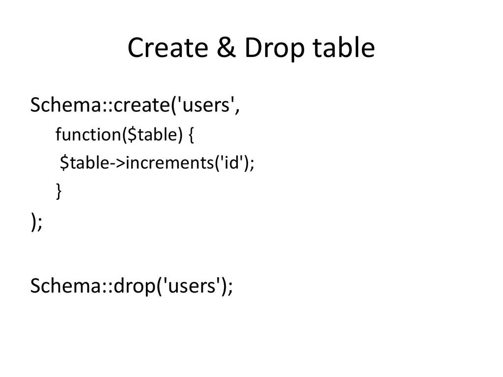 Create & Drop table Schema::create('users', fun...