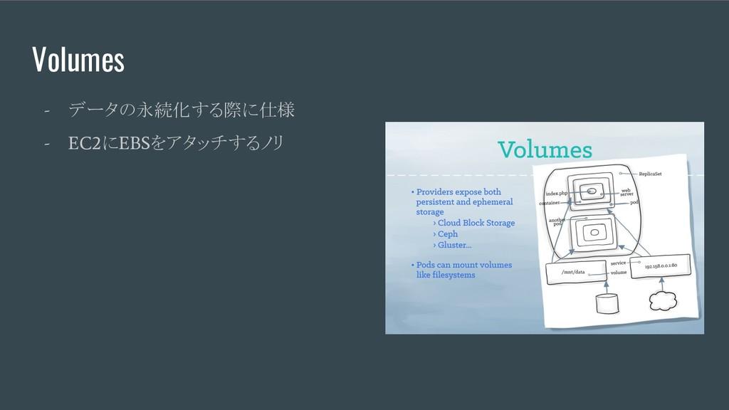 - データの永続化する際に仕様 - EC2 に EBS をアタッチするノリ Volumes