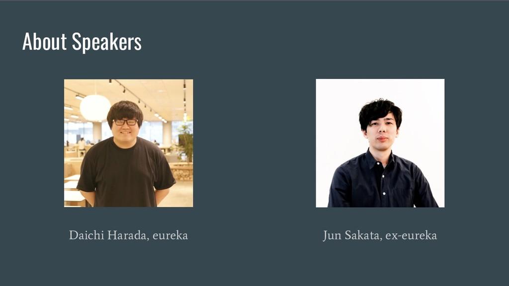 About Speakers Daichi Harada, eureka Jun Sakata...