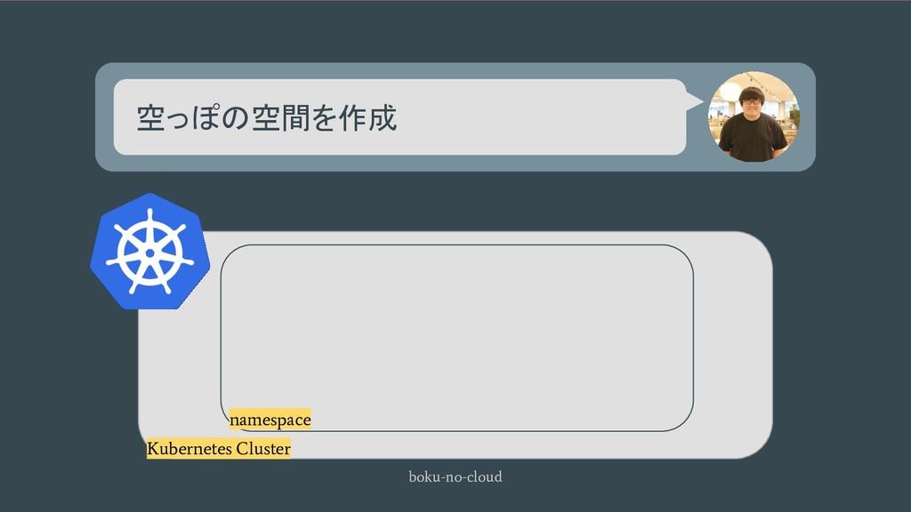 空っぽの空間を作成 boku-no-cloud Kubernetes Cluster name...