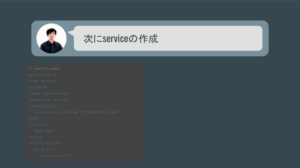 次にserviceの作成 // service.yaml apiVersion: v1 kin...
