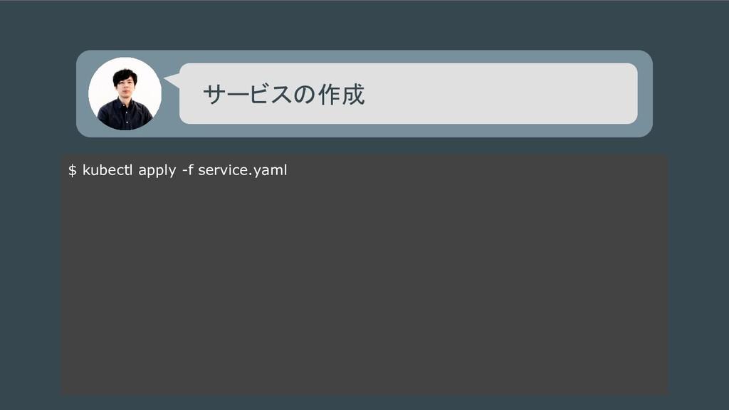 $ kubectl apply -f service.yaml サービスの作成
