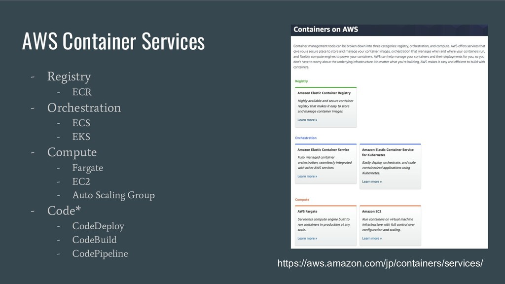 AWS Container Services - Registry - ECR - Orche...