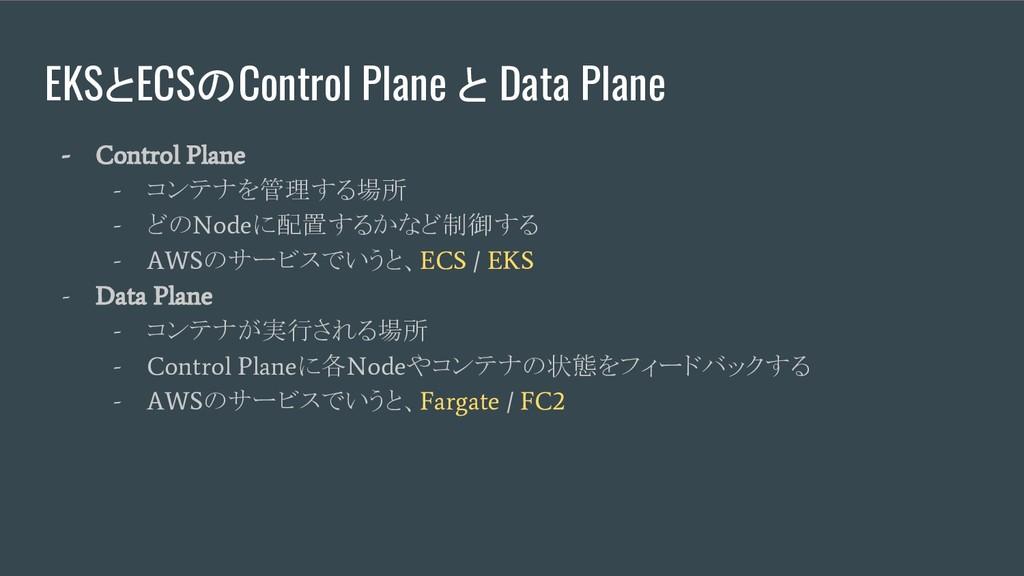 EKSとECSのControl Plane と Data Plane - Control Pl...