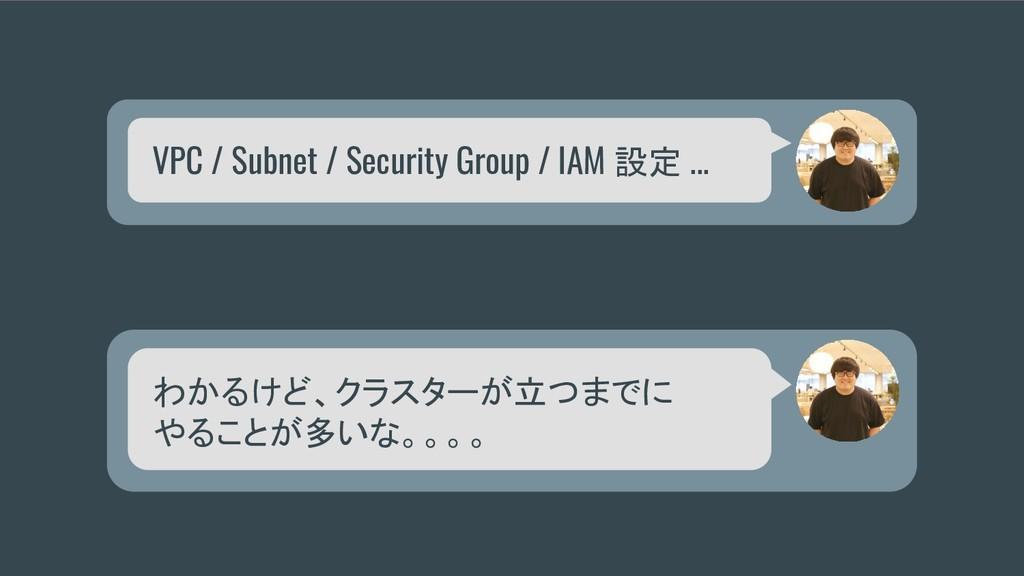 VPC / Subnet / Security Group / IAM 設定 ... わかるけ...