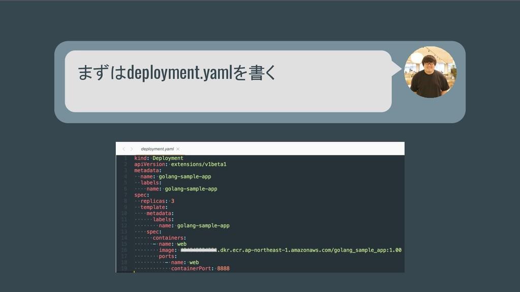 まずはdeployment.yamlを書く