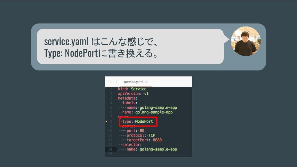 service.yaml はこんな感じで、 Type: NodePortに書き換える。